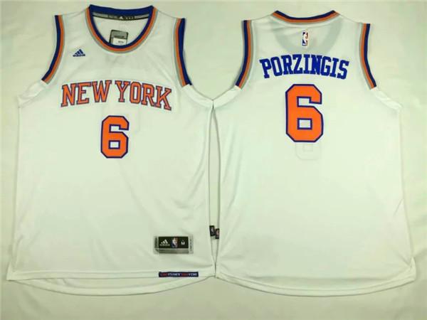 Knicks 6 Kristaps Porzingis White Swingman Jersey