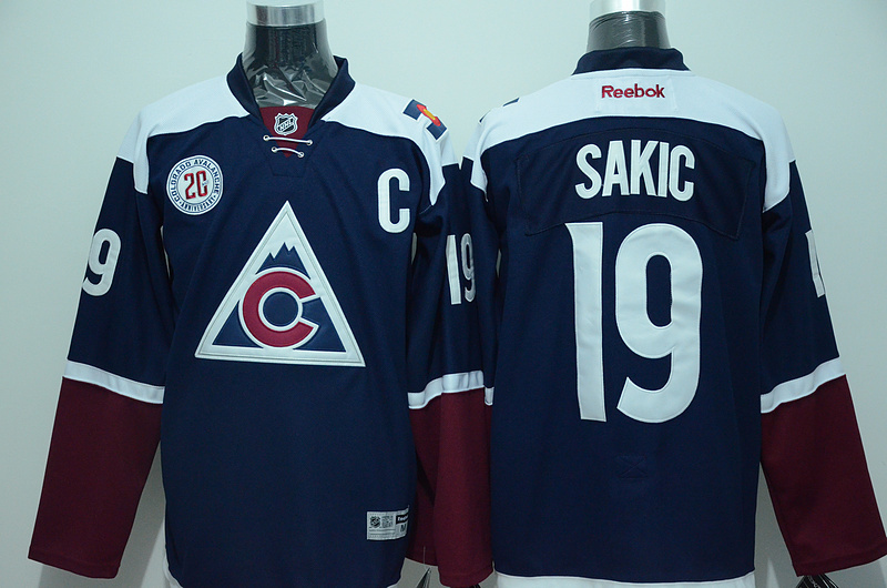 Avalanche 19 Joe Sakic Navy Blue Reebok Jersey