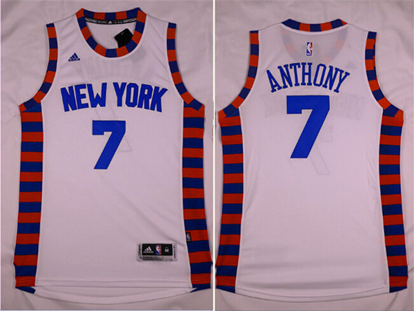 Knicks 7 Carmelo Anthony White Throwback Swingman Jersey