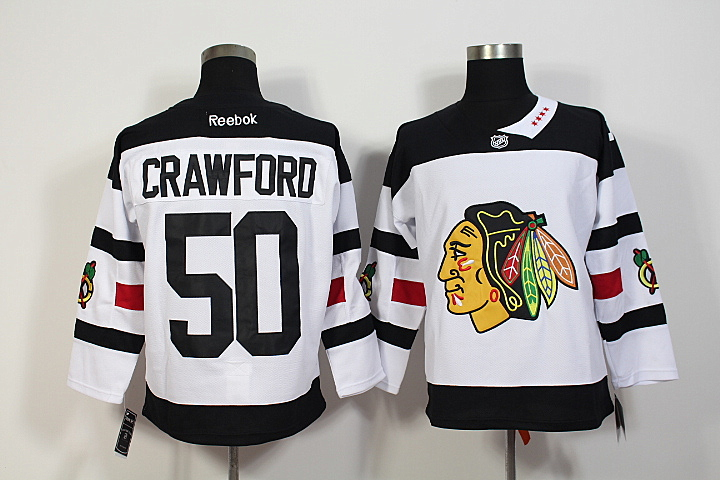Blackhawks 50 Corey Crawford White 2016 Stadium Series Reebok Jersey
