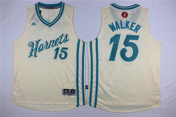 Hornets 15 Kemba Walker Cream 2015-16 Christmas Day Swingman Jersey