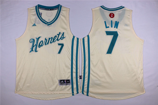 Hornets 7 Jeremy Lin Cream 2015-16 Christmas Day Swingman Jersey
