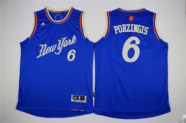 Knicks 6 Kristaps Porzingis Blue 2015-16 Christmas Day Swingman Jersey