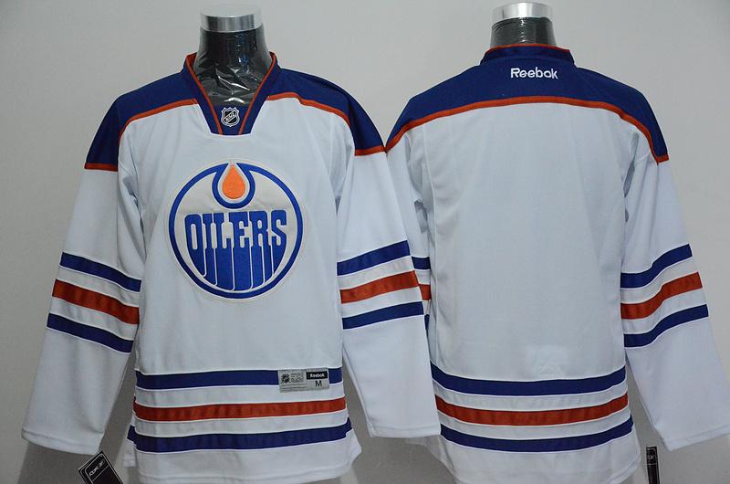 Oilers Blank White Reebok Jersey
