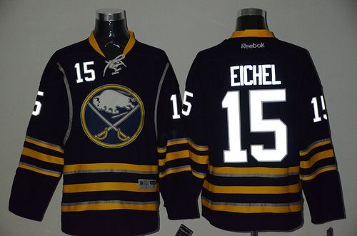 Sabres 15 Jack Eichel Navy Blue Reflective Edition Reebok Jersey