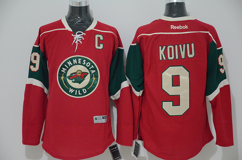 Wild 9 Mikko Koivu Red C Patch Reebok Jersey