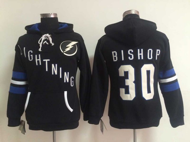 Lightning 30 Ben Bishop Black Women All Stitched Hooded Sweatshirt