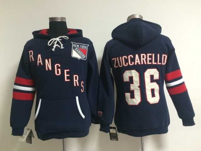 Rangers 36 Mats Zuccarello Blue Women All Stitched Hooded Sweatshirt