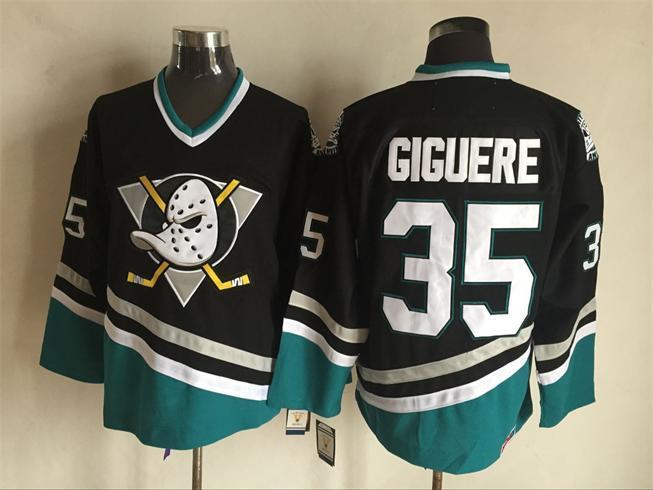 Ducks 35 Jean Sebastien Giguere Black CCM Jersey