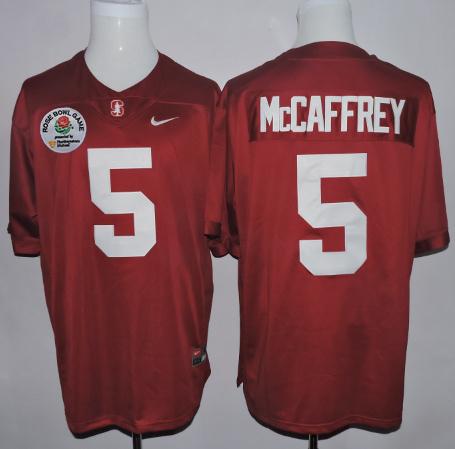 Stanford Cardinal 5 Christian McCaffrey Red 2016 Rose Bowl Jersey