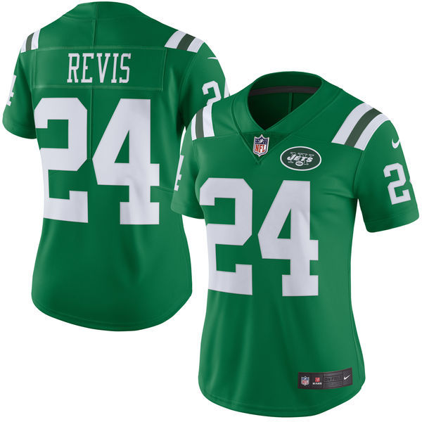 Nike Jets 24 Darrelle Revis Green Color Rush Women Limited Jersey