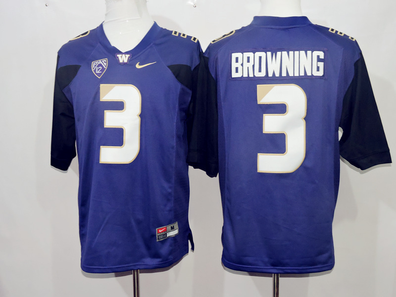 Washington Huskies 3 Jake Browning Blue College Football Jersey