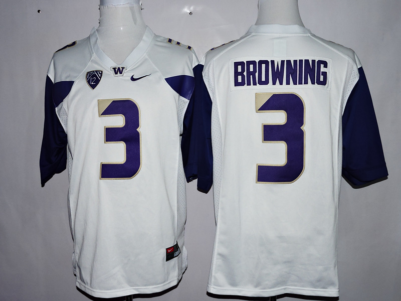 Washington Huskies 3 Jake Browning White College Football Jersey