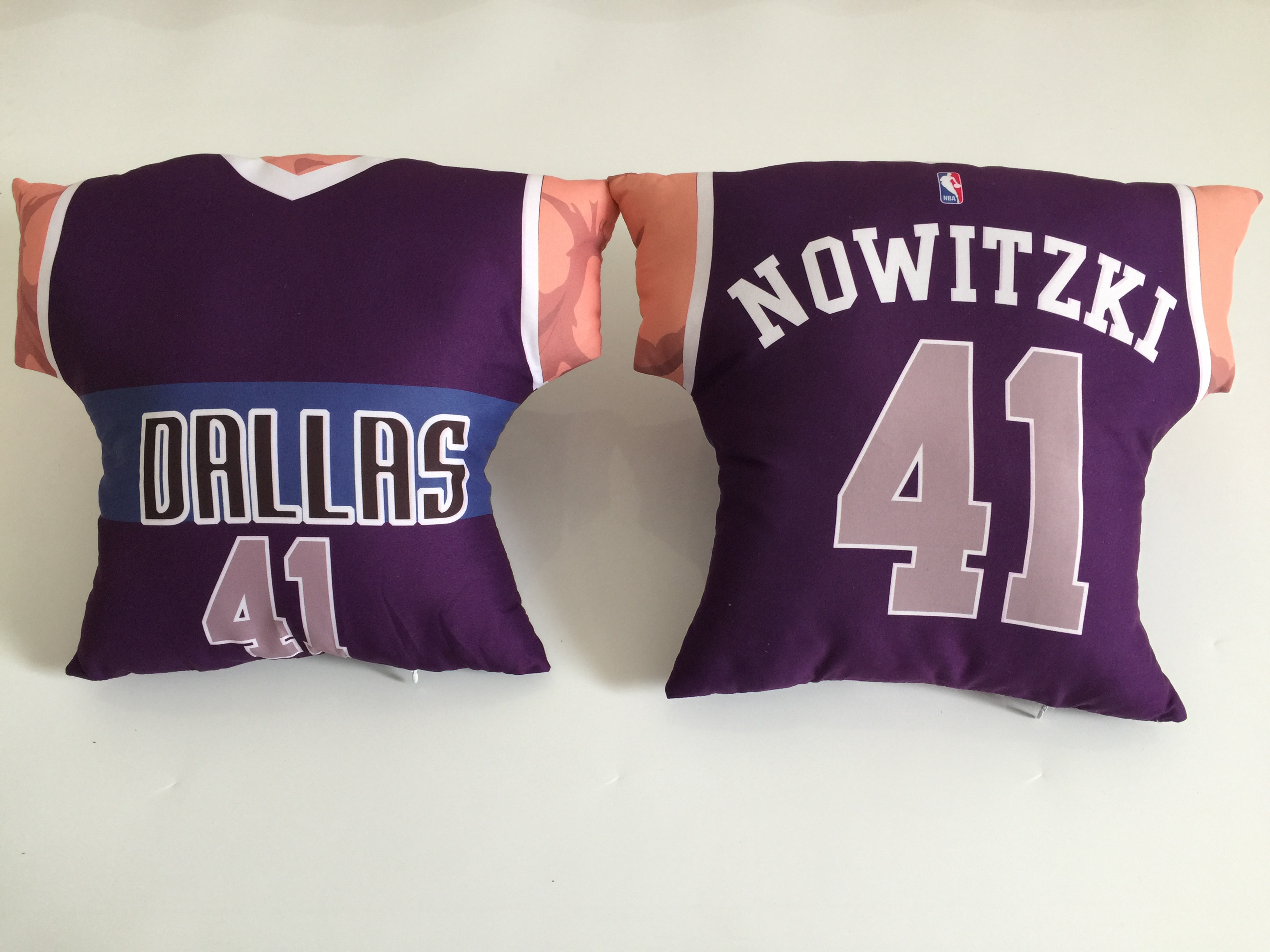 Dallas Mavericks 41 Dirk Nowitzki Purple NBA Pillow
