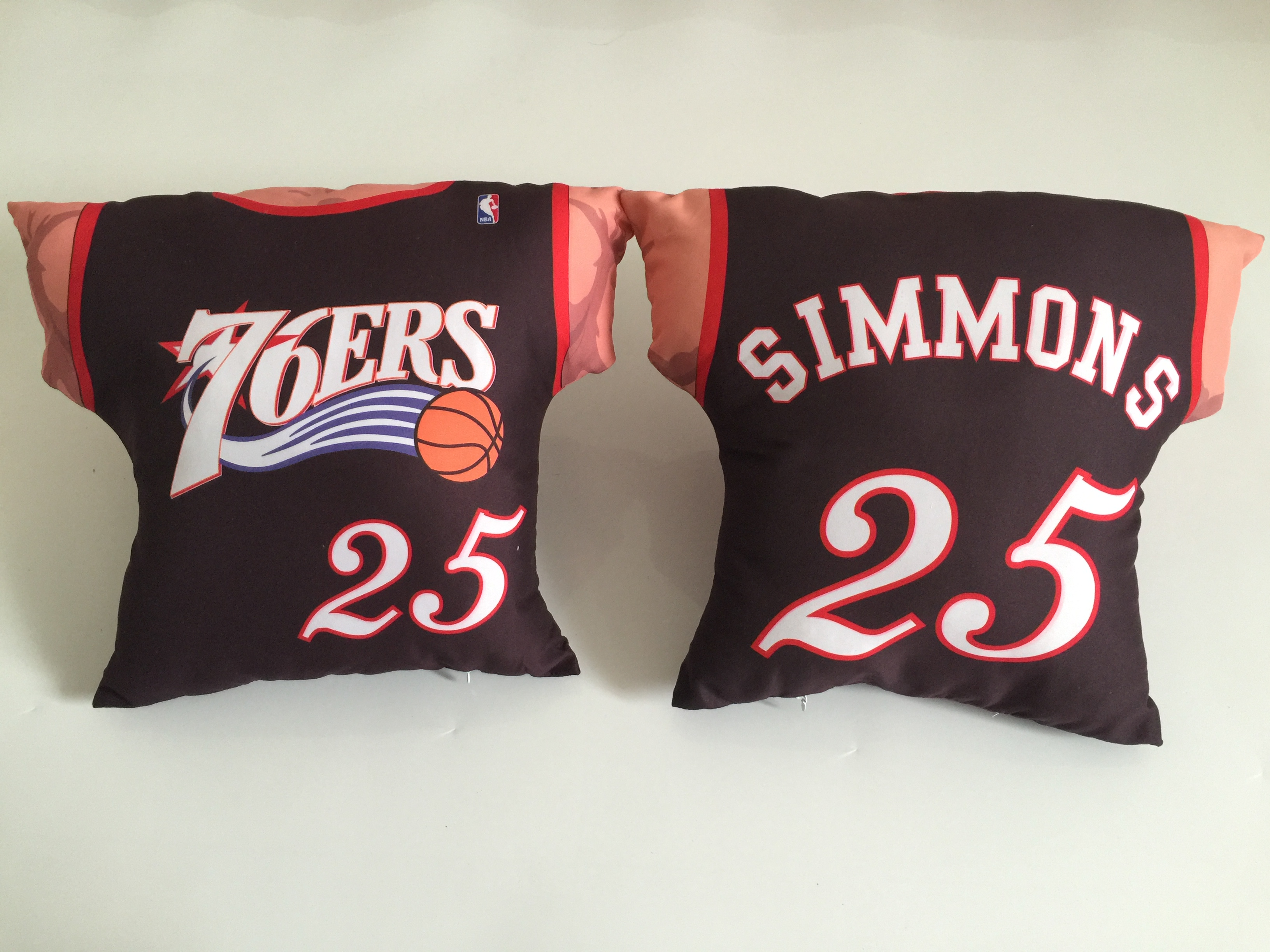 Philadelphia 76ers 25 Ben Simmons Black NBA Pillow