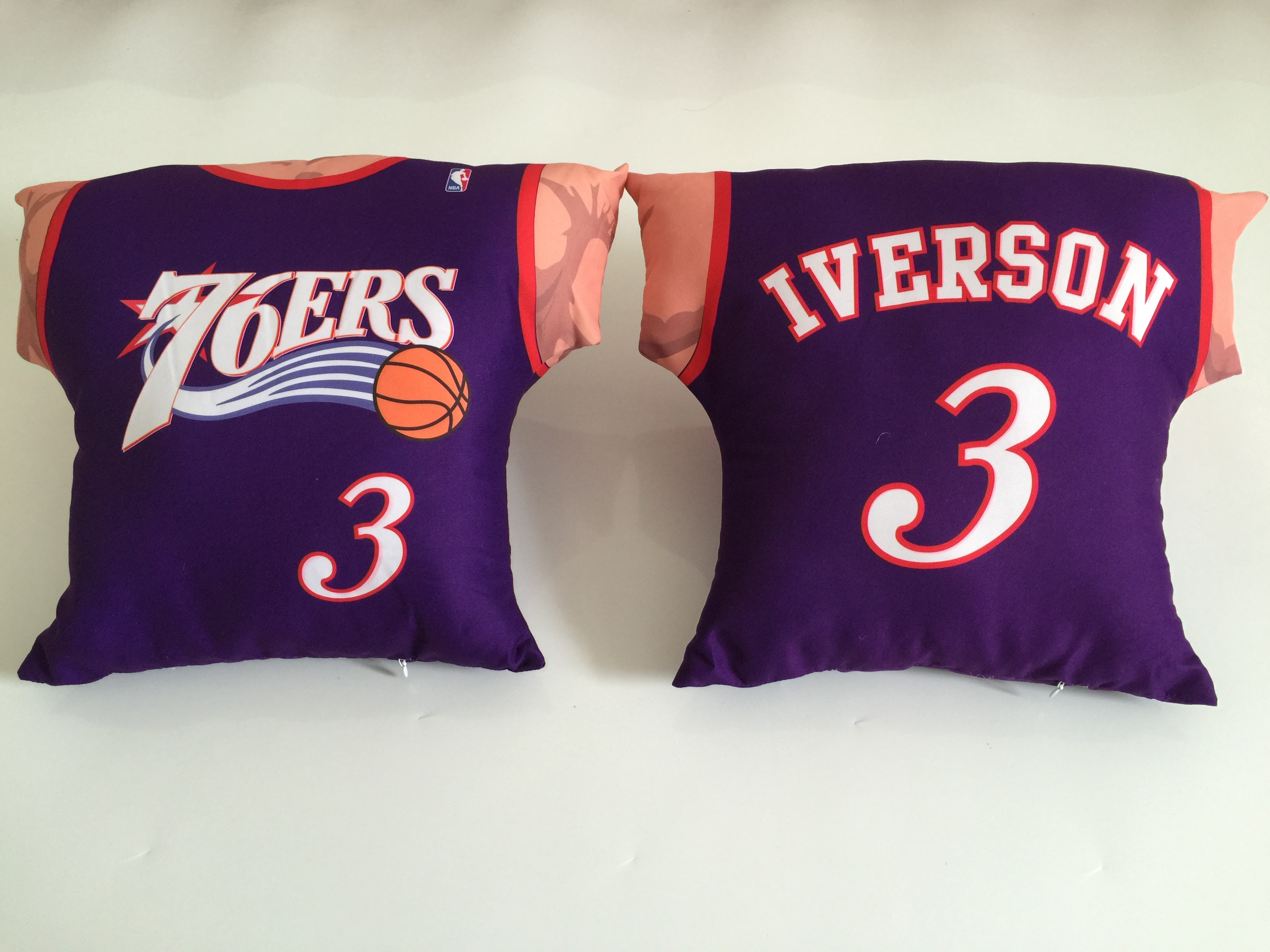 Philadelphia 76ers 3 Allen Iverson Purple NBA Pillow