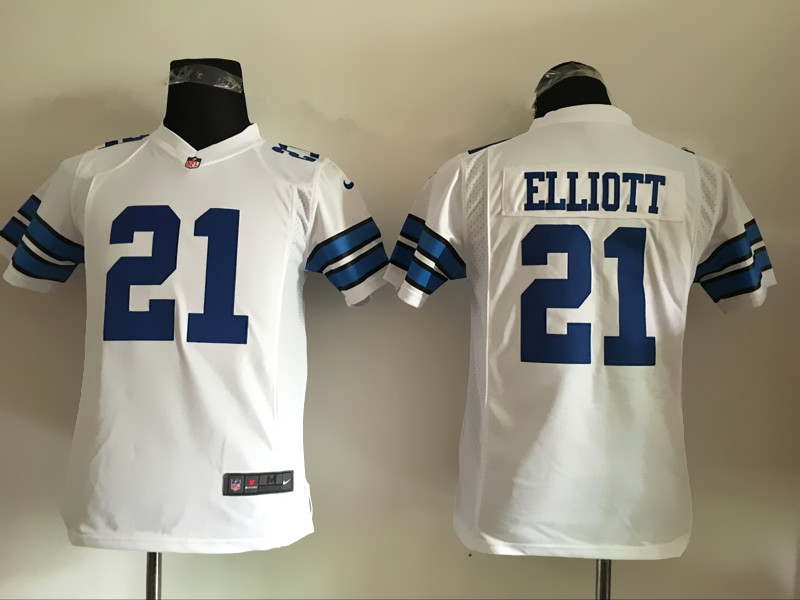 Nike Cowboys 21 Ezekiel Elliott White Youth Game Jersey