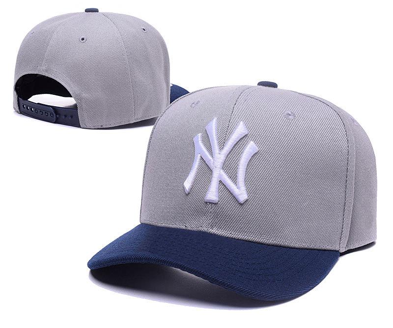 Yankees Fresh Logo Grey & Navy Snapback Adjustable Hat TX
