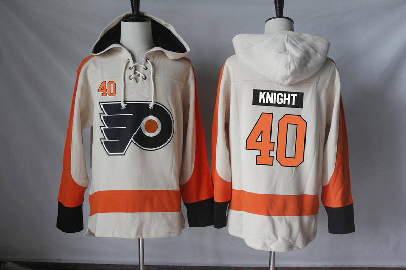 Flyers 40 Corban Knight Cream All Stitched Hooded Sweatshirt