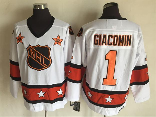 1980 All Star 1 Eddie Giacomin White CCM NHL Jersey