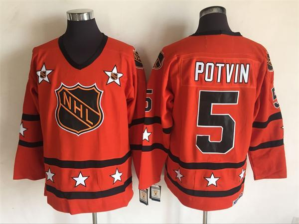 1980 All Star 5 Denis Potvin Orange CCM NHL Jersey