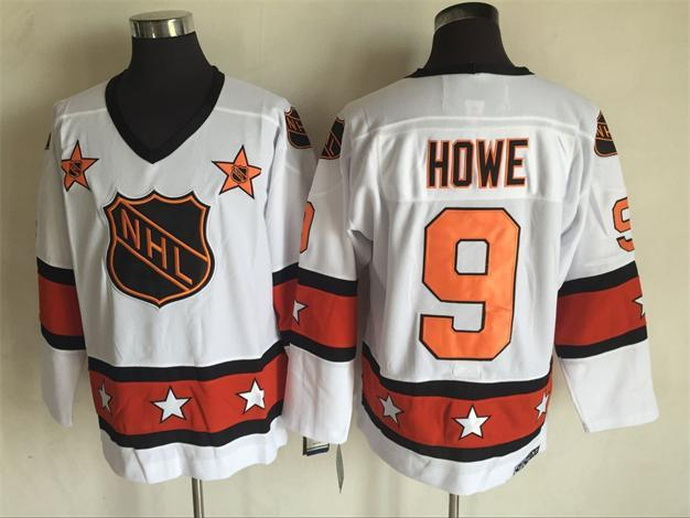 1980 All Star 9 Gordie Howe White CCM NHL Jersey