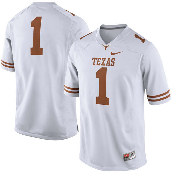 Texas Longhorns 1 White Nike College Jersey