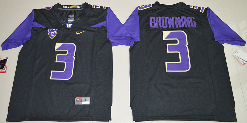 Washington Huskies 3 Jake Browning Black Nike College Jersey