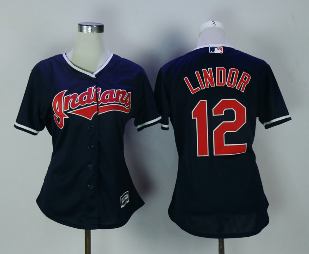 Indians 12 Francisco Lindor Navy Women New Cool Base Jersey