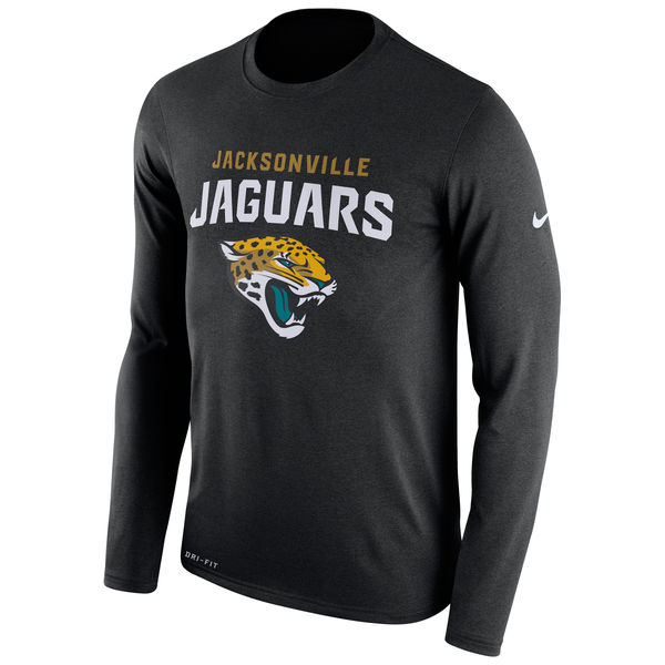 Jacksonville Jaguars Nike Legend Essential Lock Up Long Sleeve Performance T-Shirt Black