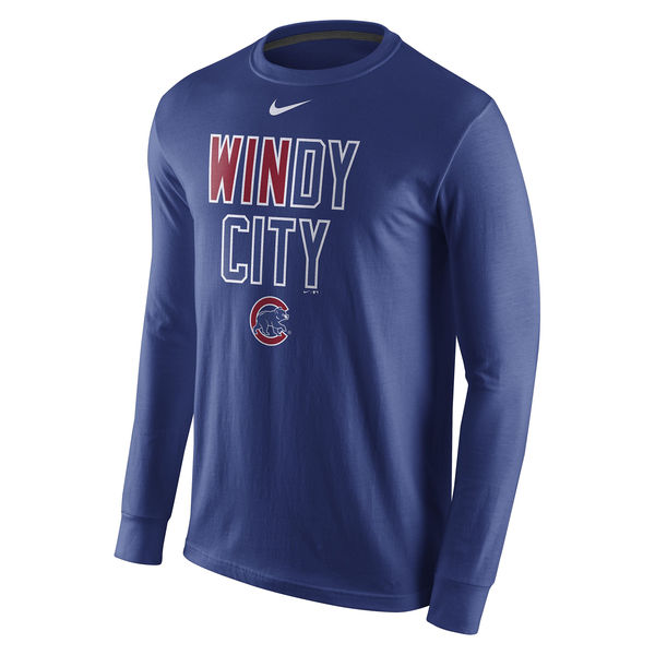 Men's Chicago Cubs Nike Royal 2016 Postseason Playoff Local Long Sleeve T-Shirt
