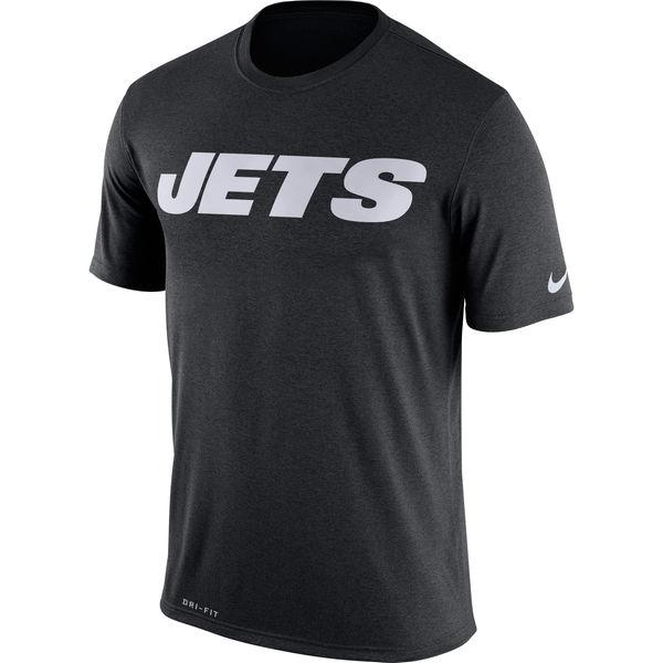 New York Jets Nike Legend Wordmark Essential 3 Performance T-Shirt Black