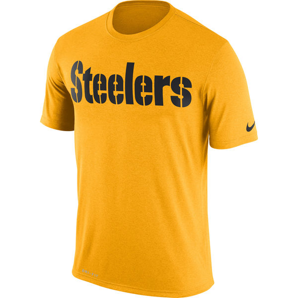 Pittsburgh Steelers Nike Legend Wordmark Essential 3 Performance T-Shirt Gold