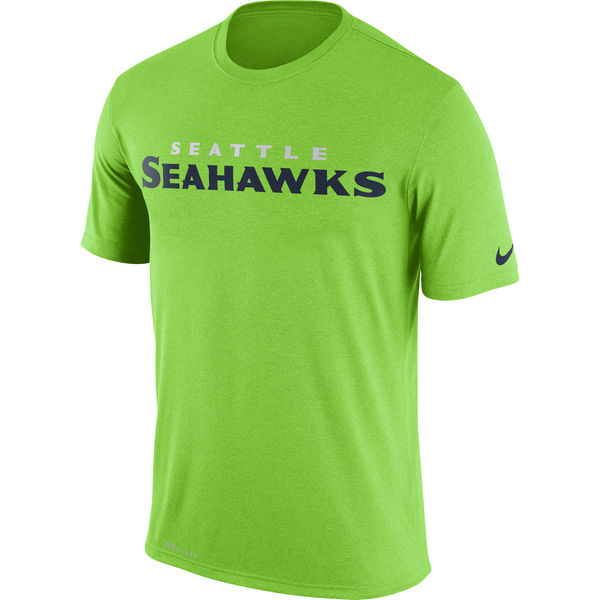 Seattle Seahawks Nike Legend Wordmark Essential 3 Performance T-Shirt Neon Green