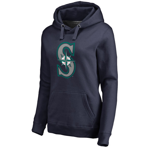 Seattle Mariners Women's Team Color Primary Logo Pullover Hoodie Navy