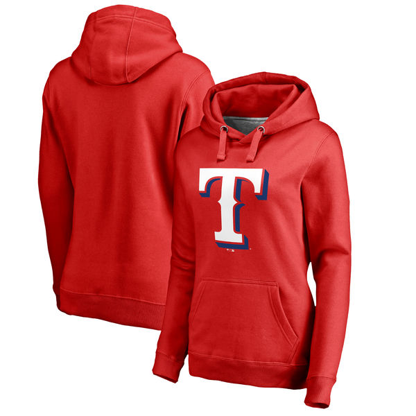 Texas Rangers Women's Plus Sizes Primary Team Logo Pullover Hoodie Red