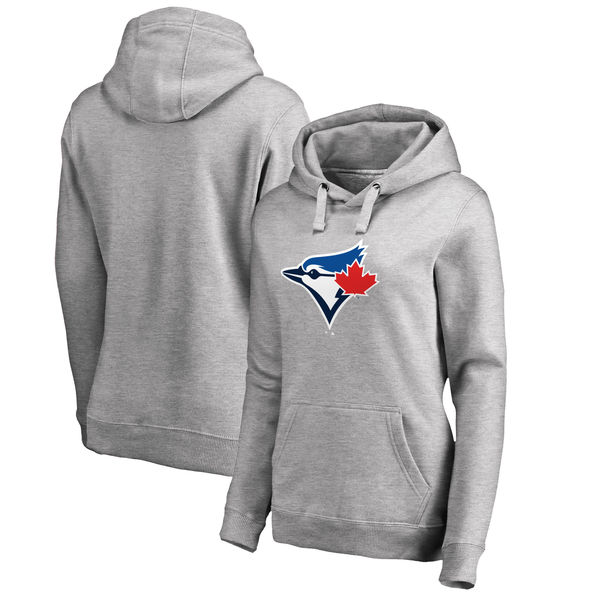 Toronto Blue Jays Women's Plus Sizes Primary Team Logo Pullover Hoodie Ash