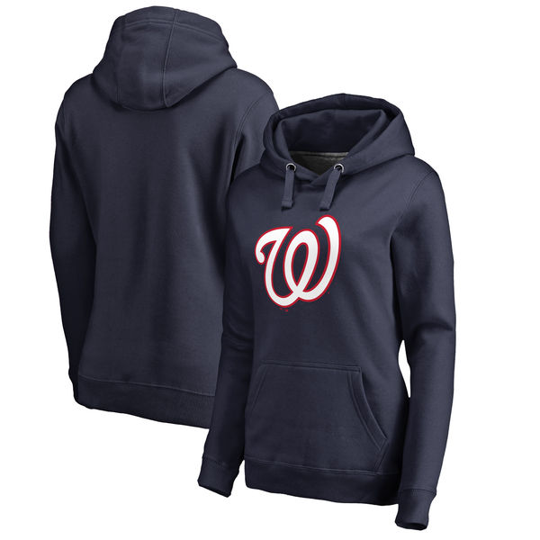 Washington Nationals Women's Plus Sizes Primary Team Logo Pullover Hoodie Navy