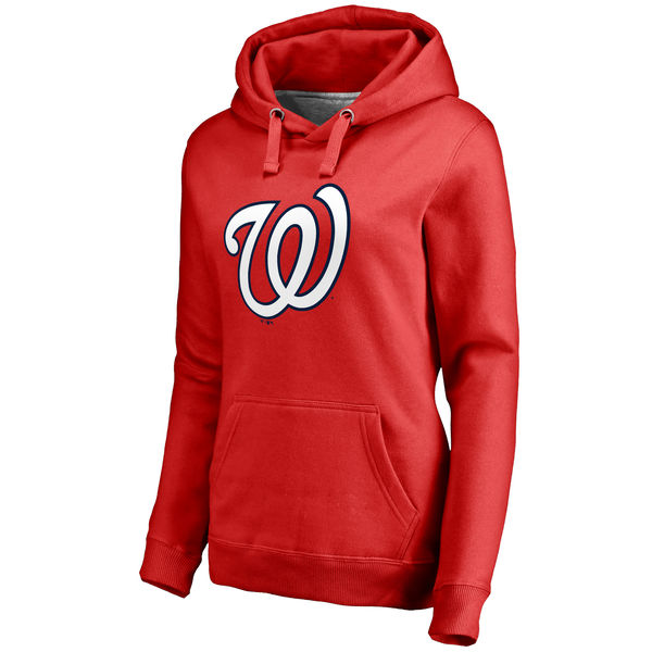 Washington Nationals Women's Team Color Primary Logo Pullover Hoodie Red