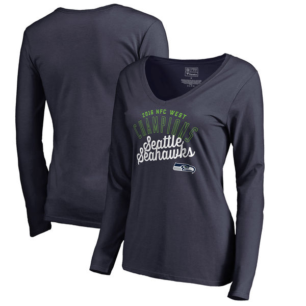 Seattle Seahawks Pro Line by Fanatics Branded Women's 2016 NFC West Division Champions V Neck Long Sleeve T-Shirt College Navy