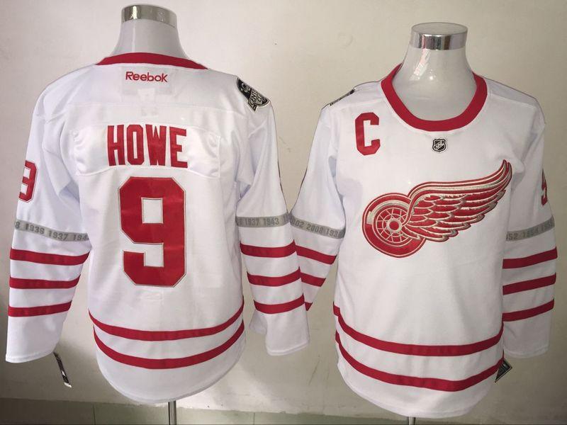 Red Wings 9 Gordie Howe White 2017 Centennial Classic Reebok Jersey