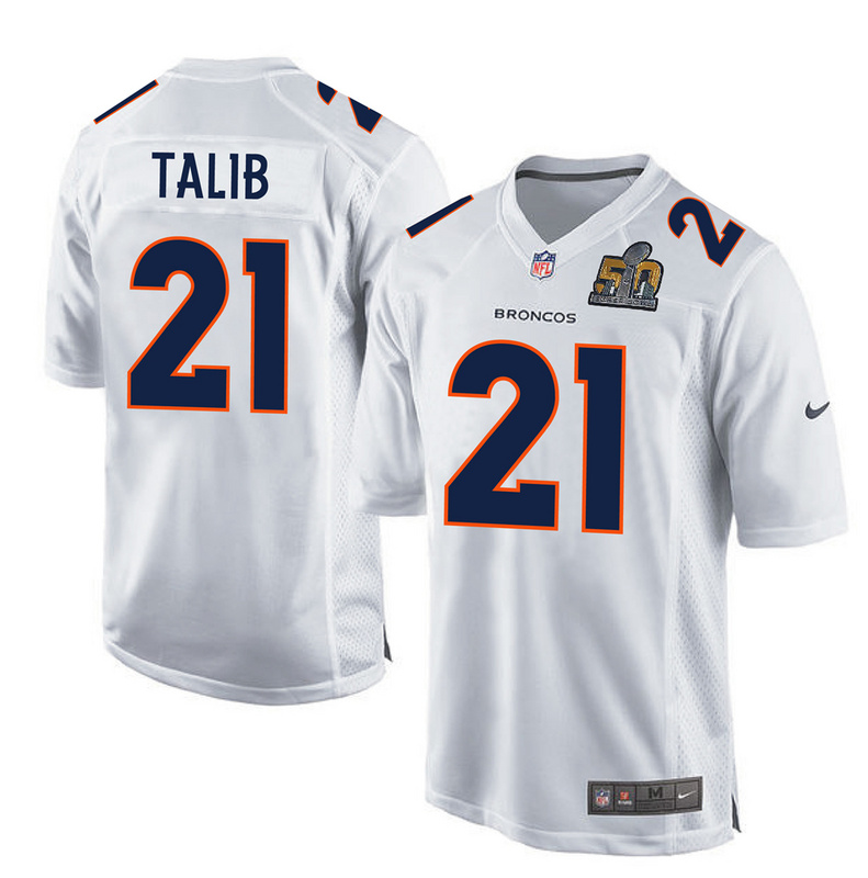 Nike Broncos 21 Aqib Talib White Super Bowl 50 Bound Game Event Jersey