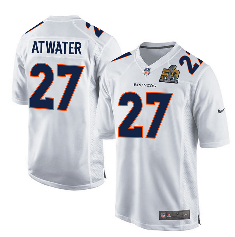 Nike Broncos 27 Steve Atwater White Super Bowl 50 Bound Game Event Jersey