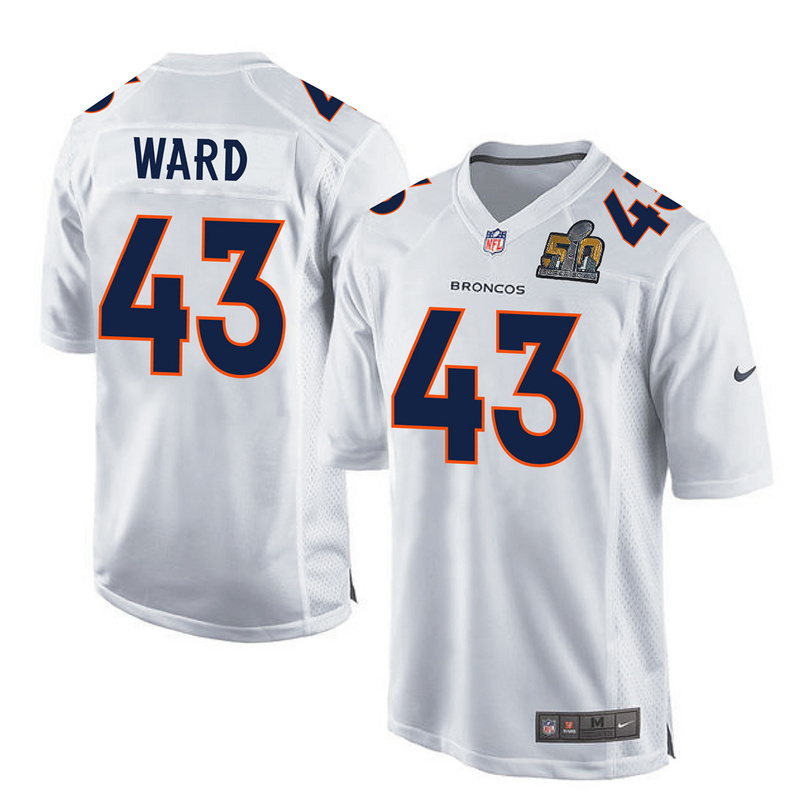 Nike Broncos 43 T.J. Ward White Youth Super Bowl 50 Bound Game Event Jersey
