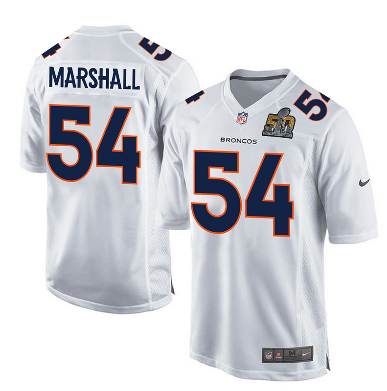 Nike Broncos 54 Brandon Marshall White Youth Super Bowl 50 Bound Game Event Jersey