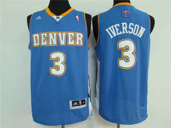 Nuggets 3 Allen Iverson Light Blue Swingman Jersey