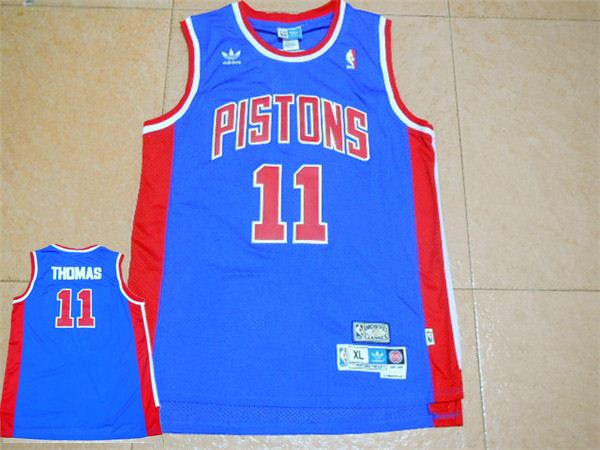 Pistons 11 Isiah Thomas Blue Hardwood Classics Jersey