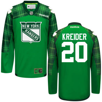 Rangers 20 Chris Kreider Green St. Patrick's Day Reebok Jersey