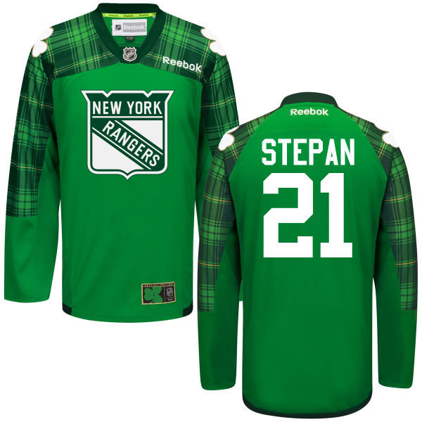 Rangers 21 Derek Stepan Green St. Patrick's Day Reebok Jersey