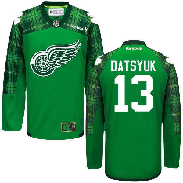 Red Wings 13 Pavel Datsyuk Green St. Patrick's Day Reebok Jersey